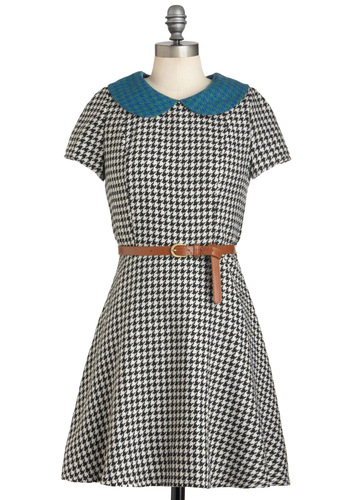 Up-hound Girl Dress - Mid-length, Multi, Blue, Black, White, Houndstooth, Peter Pan Collar, Belted, Work, Vintage Inspired, Scholastic/Collegiate, Holiday Sale