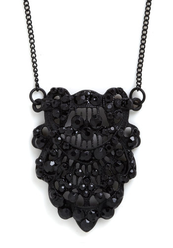 Masquerade for You Necklace - Black, Rhinestones, Holiday Party