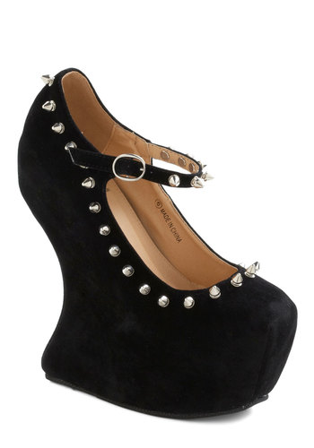 Rebel Belle Wedge - Black, Studs, High, Platform, Wedge, Mary Jane