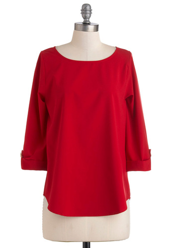 Zoom Bisou Top in Crimson - Red, Solid, Buttons, Mid-length, Work, Casual