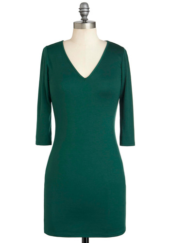 Queen of Evergreen Dress - Solid, Casual, Shift, Short, Green, Long Sleeve, V Neck, Party, Holiday Sale