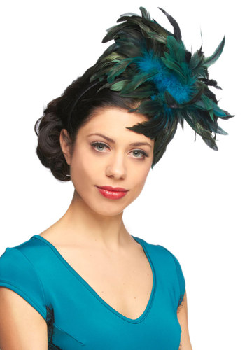 Enter the Plume Fascinator - Green, Blue, Feathers, Formal, Wedding, Party, Vintage Inspired, Statement, Holiday Party