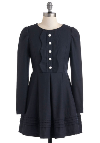 Definitely Navy Dress - Short, Blue, Solid, Buttons, Party, Work, Vintage Inspired, Long Sleeve, Fall