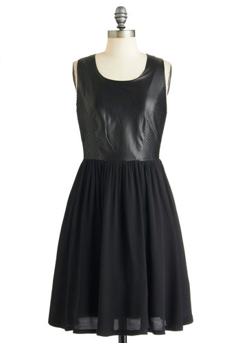 Spinning Records Dress - Leather, Mid-length, Black, Solid, Party, A-line, Sleeveless