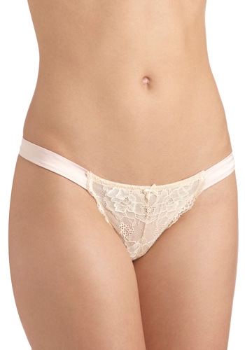 Like a Lady Thong - Pink, Tan / Cream, Solid, Bows, Lace, Sheer, Vintage Inspired