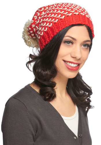 Good to Be Warm Hat by Louche - Red, Tan / Cream, Print, Poms, Winter, Knitted, Holiday, International Designer