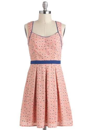 Heart Rock Dress - Pink, Blue, Print, Backless, Cutout, Pleats, A-line, V Neck, Mid-length, Daytime Party, Summer