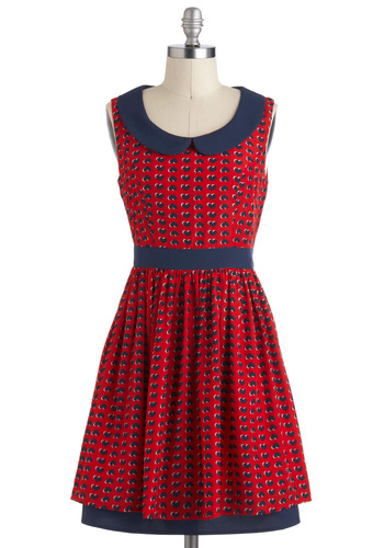 Scene of Hearts Dress - Red, Blue, Print, Peter Pan Collar, Pleats, Casual, A-line, Sleeveless, Collared, Mid-length, Novelty Print