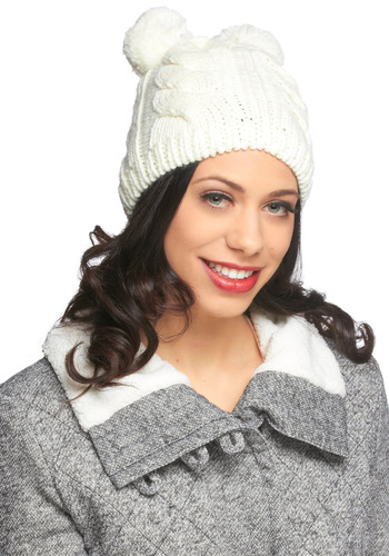 Snow Day Play Hat by Louche - Solid, Knitted, Poms, Winter, White, Holiday, International Designer