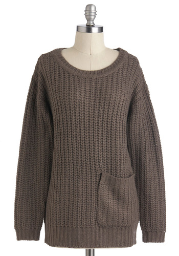 Apple Butter Breakfast Sweater in Fog - Mid-length, Brown, Solid, Knitted, Pockets, Casual, Long Sleeve, 90s, Fall