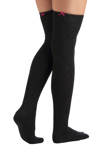 Betsey Johnson Feel a Sparkle Tights by Betsey Johnson - Black, Bows, Glitter, Girls Night Out