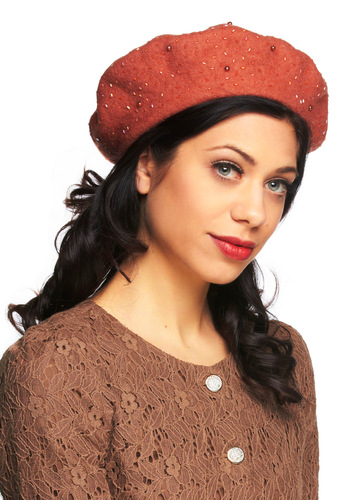 Beret of Light - Orange, Solid, Beads, French / Victorian, Winter