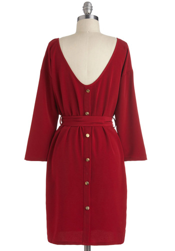 Maple the Grade Dress - Mid-length, Red, Solid, Buttons, Belted, Work, Vintage Inspired, Long Sleeve