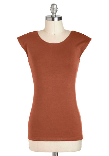 Tanks Very Much Top in Terracotta - Orange, Solid, Short Sleeves, Cotton, Casual, Jersey, Mid-length