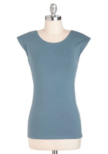 Tanks Very Much Top in Periwinkle - Blue, Solid, Short Sleeves, Cotton, Casual, Jersey, Mid-length