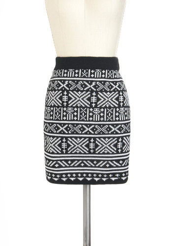 Design Aesthetic Skirt - Black, White, Knitted, Mid-length, Print, Mini, Winter