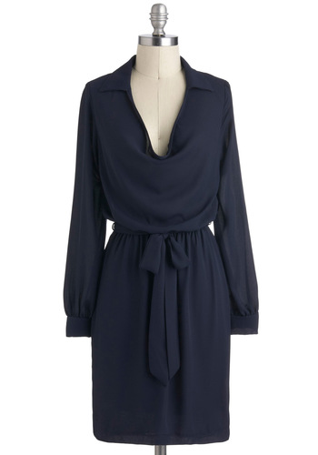 From Desk Till Dawn - Blue, Solid, Casual, A-line, Long Sleeve, Cowl, Collared, Mid-length, Work