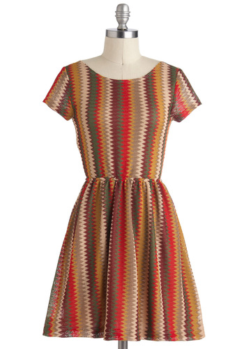 Foliage Tour Dress - Multi, Casual, 70s, A-line, Short Sleeves, Fall, Short, Stripes, Buttons, Cutout