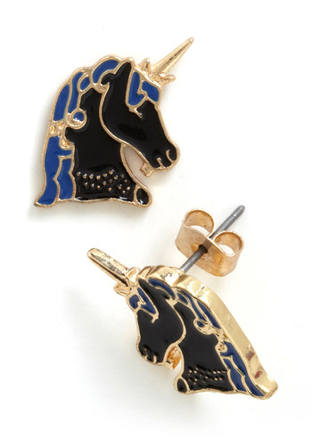 Atta Gallop Earrings - Print with Animals, Fairytale, Blue, Black, Gold, Top Rated