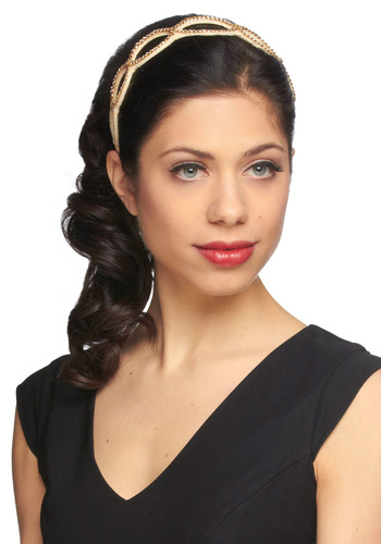 Fairytale Heroine Headband - Gold, Solid, Fairytale, Gold, Tan / Cream, White, Holiday Party