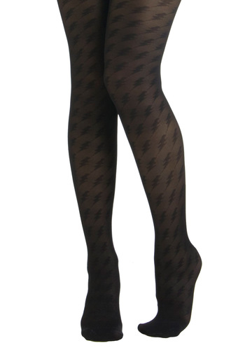 Betsey Johnson Beauty and the Bolt Tights by Betsey Johnson - Black, Print, Sheer