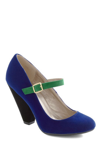 Strut Your Strength Heel in Royal Blue - Blue, Green, Black, Solid, Colorblocking, Mary Jane, Long, Tis the Season Sale