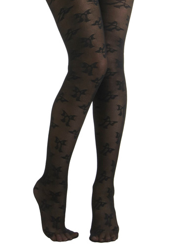 Betsey Johnson A-bowed Time Tights by Betsey Johnson - Black, Sheer, Holiday Party