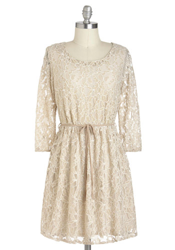 Cafe Au Lace Dress - Short, Tan, Lace, Belted, Wedding, A-line, Long Sleeve, Party, Bridesmaid, Bride, Summer