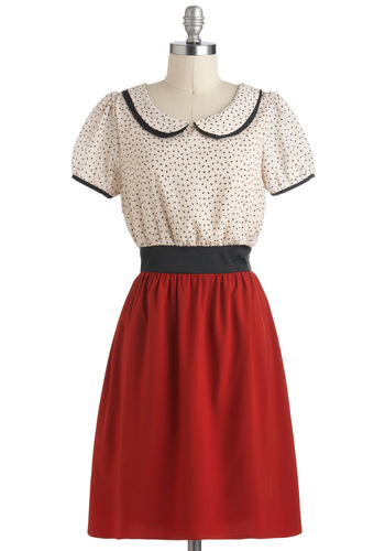 Cherry Jubilee Dress - White, Peter Pan Collar, Work, Vintage Inspired, A-line, Short Sleeves, Fall, Mid-length, Red, Black, Print, 60s