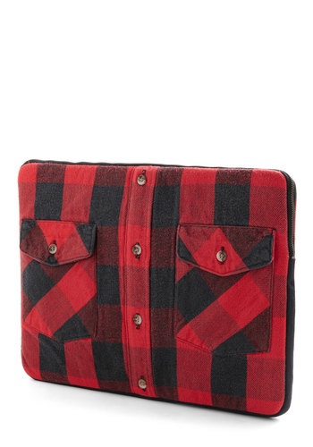 Roll Up Your Laptop Sleeve - Red, Black, Plaid, Work, Dorm Decor, Graduation