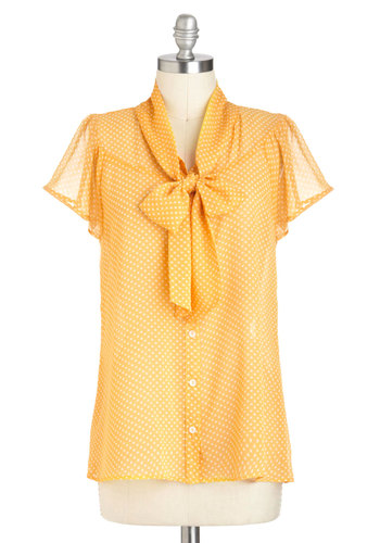 Jonquil You Be Mine? Top - Yellow, White, Polka Dots, Tie Neck, Work, Short Sleeves, Sheer, Mid-length, Variation, Pinup, Summer