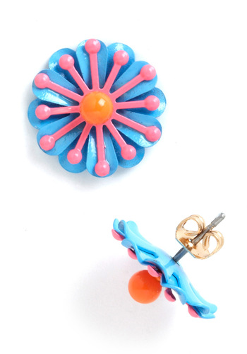 Burst of Bloom Earrings - Multi, Flower, Orange, Blue, Pink, Casual, Statement