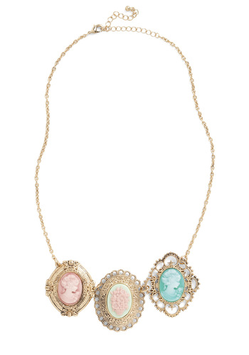 Silhouettes and Pirouettes Necklace - Gold, Green, Blue, Pink, Wedding, Party, Vintage Inspired, Luxe, Statement, Fairytale