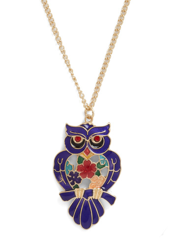 Owl Say Necklace - Blue, Multi, Solid, Owls, Casual, Quirky