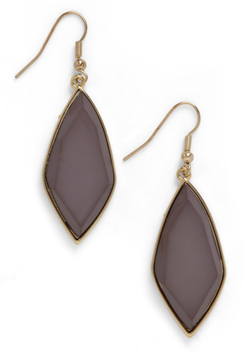 Little Stone Fact Earrings - Black, Gold, Solid, Statement, Variation