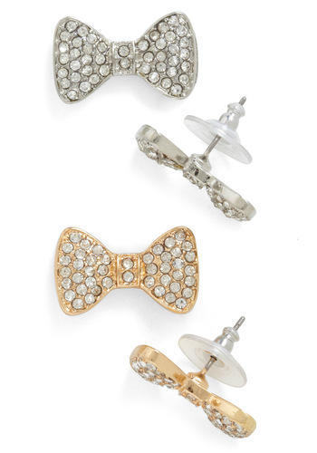 A Debonair Pair Earrings - Silver, Gold, Solid, Bows, Rhinestones, Party, Holiday Party