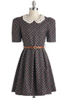 Cross My Tart Dress - Mid-length, Multi, Red, Blue, Brown, Plaid, Peter Pan Collar, Pleats, Belted, Casual, Fit & Flare, Short Sleeves, Fall, Collared, Vintage Inspired, Scholastic/Collegiate