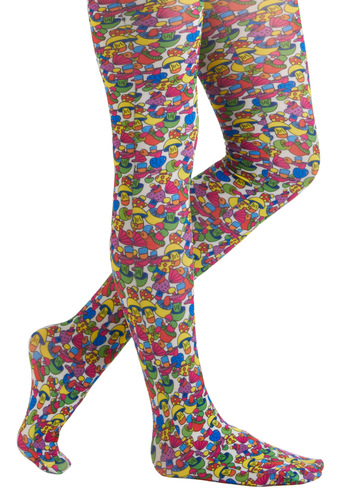 Colorful Cuisine Tights by Look From London - Multi, Novelty Print, Mushrooms, Sheer, 70s