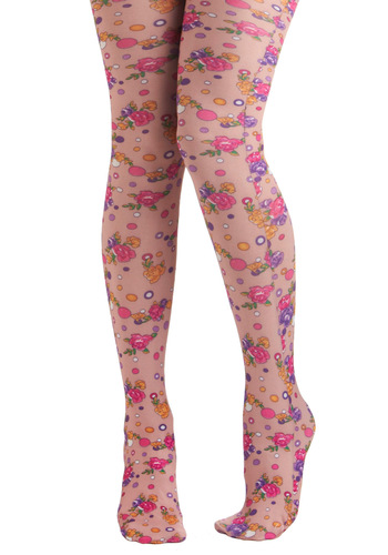 Bubbles and Blooms Tights by Look From London - Multi, Floral, Statement, Quirky, Pink