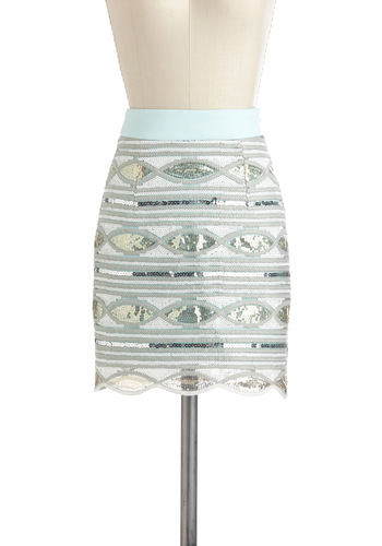 Come Sequin About Me Skirt - Blue, Silver, Sequins, Party, Girls Night Out, Holiday Party, Mini, White, International Designer