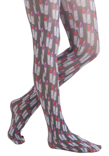 Makeup for It Tights - Red, Purple, Novelty Print, Statement