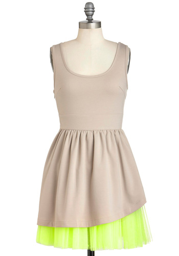 Fairy Extraordinary Dress - Tan, Green, Solid, Party, Neon, A-line, Mini, Sleeveless, Short, International Designer