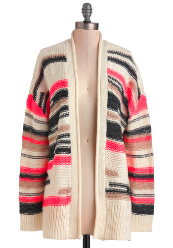 Take Your Pink Cardigan - Pink, Black, Stripes, Knitted, Long Sleeve, Fall, Tan / Cream, Tis the Season Sale