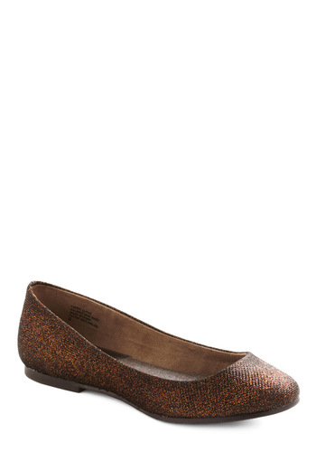 A Night to Remember Flat in Copper by BC Footwear - Bronze, Solid, Casual, Flat, Glitter, Tis the Season Sale