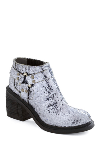 Dusk Till Dawn Bootie by Senso Diffusion - Silver, Glitter, Mid, Chunky heel, Party, Luxe, Statement, 90s, International Designer