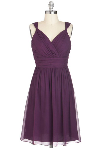 Plum-thing Special Dress - Purple, Solid, Wedding, Party, A-line, Sleeveless, Ruching, Long, Holiday Party, Prom, Bridesmaid