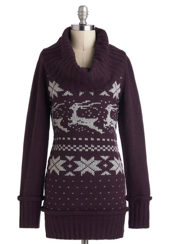 Leap for Joy Sweater - Purple, Tan / Cream, Knitted, Casual, Long Sleeve, Winter, Long, Holiday