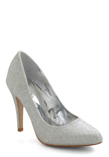 Sterling Things Up Heel - Silver, Solid, Glitter, High, Holiday Party, Tis the Season Sale, Graduation, Special Occasion