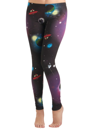 Fresh Take Leggings in Cosmos - Print, Party, Skinny, Travel, Black, Black, 80s, Sci-fi, Cosmic