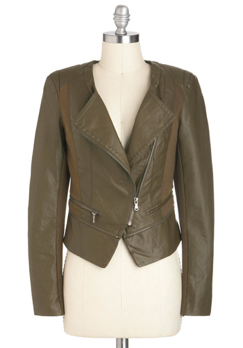 Olive Life to the Fullest Jacket - Faux Leather, Short, 2, Green, Urban, Long Sleeve, Exposed zipper, Fall